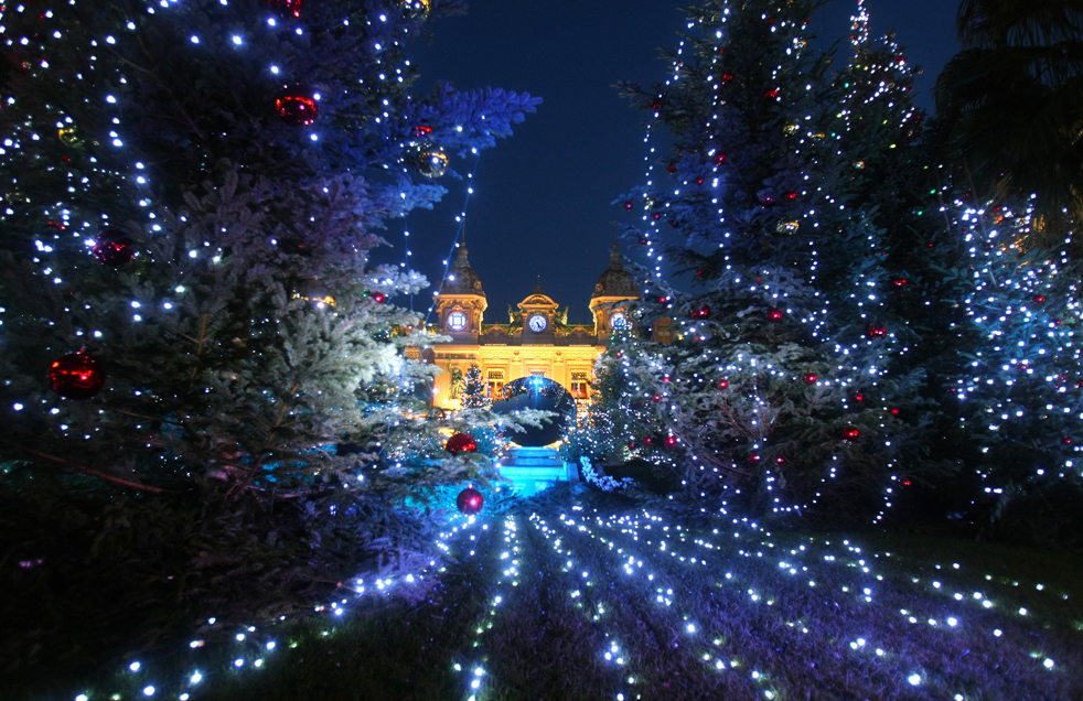 Christmas trees decorate the square in front of the Monte Carlo Casino, Thursday, Dec. 10, 2009, in Monaco. (AP Photo /  Lionel Cironneau)